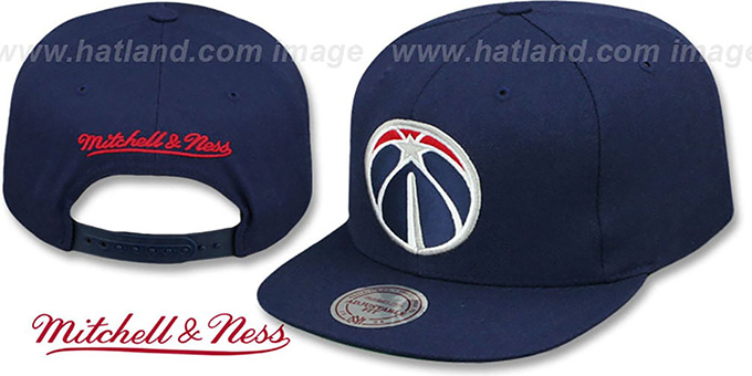 Wizards 'BASIC-LOGO SNAPBACK' Navy Hat by Mitchell and Ness : pictured without stickers that these products are shipped with