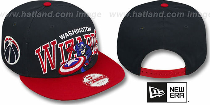 Wizards 'CHALK-UP HERO SNAPBACK' Navy-Red Hat by New Era : pictured without stickers that these products are shipped with