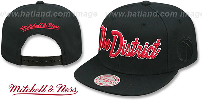 Wizards 'CITY NICKNAME SCRIPT SNAPBACK' Black Hat by Mitchell and Ness