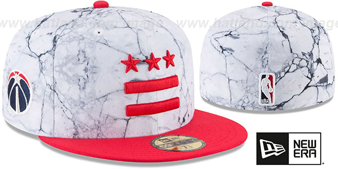 Wizards 'CITY-SERIES' White-Red Fitted Hat by New Era : pictured without stickers that these products are shipped with