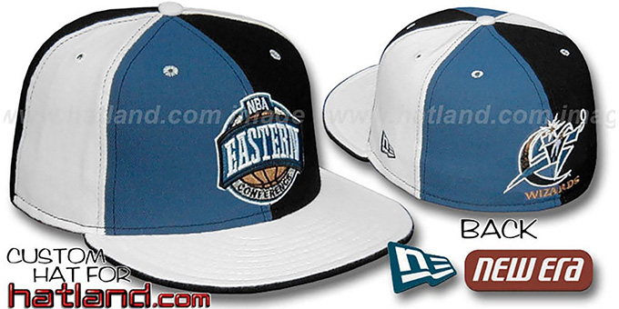 Wizards CONFERENCE 'PINWHEEL' Blue-Black-White Fitted Hat : pictured without stickers that these products are shipped with