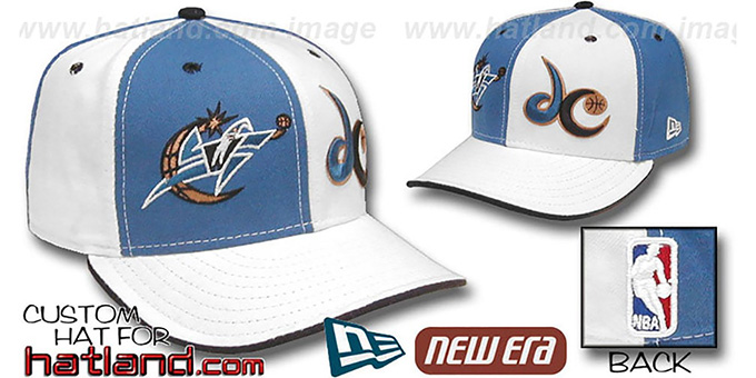 Wizards 'DOUBLE WHAMMY' Blue-White Fitted Hat : pictured without stickers that these products are shipped with