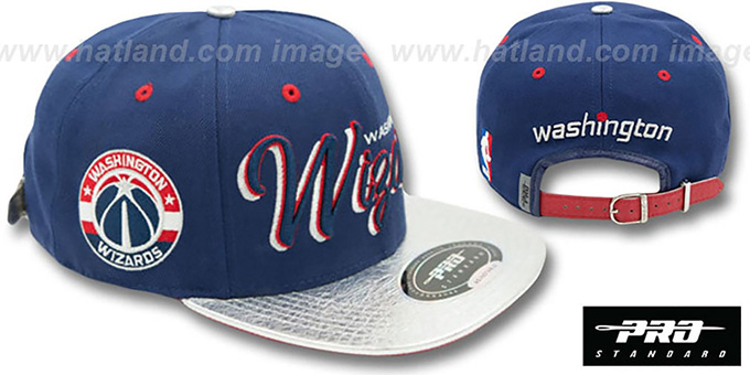 Wizards 'DROP SHADOW SCRIPT STRAPBACK' Navy-Silver Hat by Pro Standard : pictured without stickers that these products are shipped with