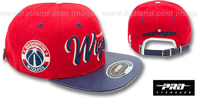Wizards 'DROP SHADOW SCRIPT STRAPBACK' Red-Navy Hat by Pro Standard : pictured without stickers that these products are shipped with