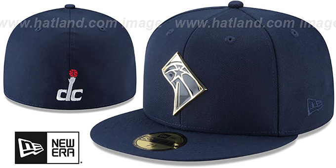 b970c895 Washington Wizards GOLD STATED METAL-BADGE Navy Fitted Hat