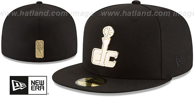 Wizards 'GOLDEN-BADGE' Black Fitted Hat by New Era : pictured without stickers that these products are shipped with