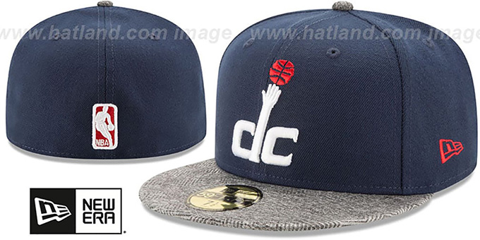 Wizards 'GRIPPING-VIZE' Navy-Grey Fitted Hat by New Era : pictured without stickers that these products are shipped with