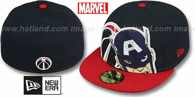 Wizards 'HERO-HCL' Navy-Red Fitted Hat by New Era : pictured without stickers that these products are shipped with