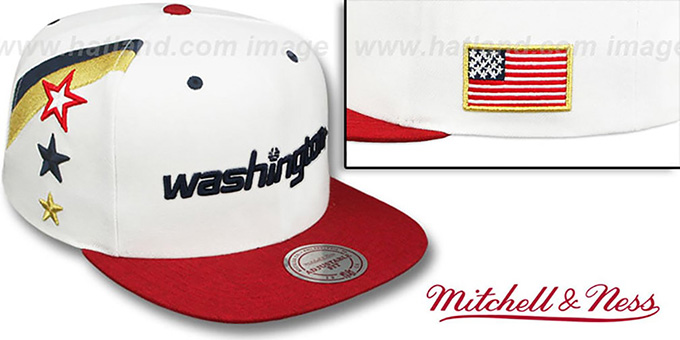 Wizards 'INDEPENDENCE SNAPBACK' Hat by Mitchell and Ness : pictured without stickers that these products are shipped with