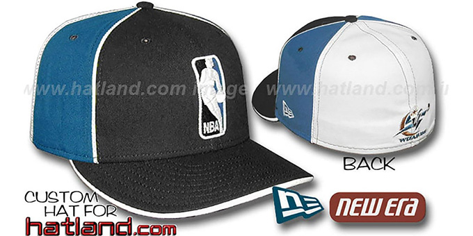 Wizards 'LOGOMAN-2' Black-Blue-White Fitted Hat by New Era : pictured without stickers that these products are shipped with