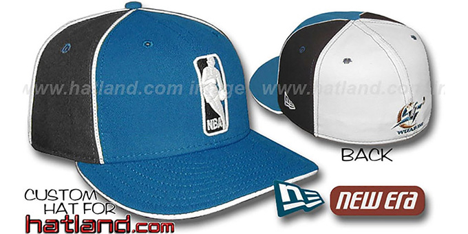 Wizards 'LOGOMAN-2' Blue-Black-White Fitted Hat by New Era : pictured without stickers that these products are shipped with