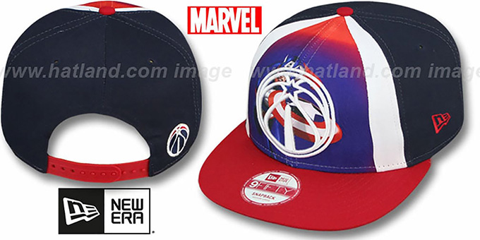 Wizards 'MARVEL RETRO-SLICE SNAPBACK' Navy-Red Hat by New Era : pictured without stickers that these products are shipped with