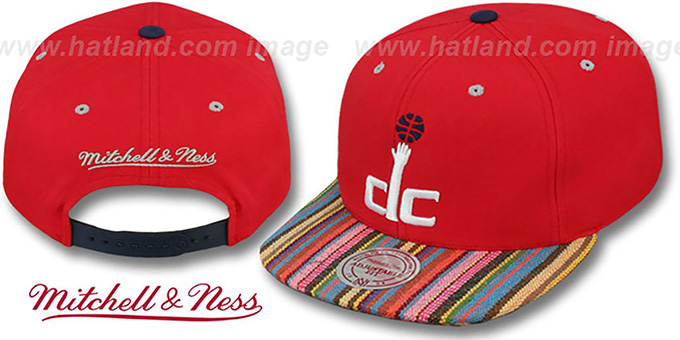 Wizards 'NATIVE-STRIPE SNAPBACK' Red Hat by Mitchell & Ness : pictured without stickers that these products are shipped with
