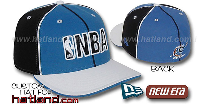 Wizards NBA 'PINWHEEL-3' Blue-Black-White Fitted Hat by New Era : pictured without stickers that these products are shipped with