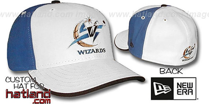 Wizards 'PINWHEEL' White-Blue Fitted Hat by New Era : pictured without stickers that these products are shipped with