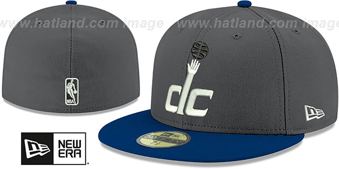 Wizards 'SHADER MELT-2' Grey-Navy Fitted Hat by New Era : pictured without stickers that these products are shipped with