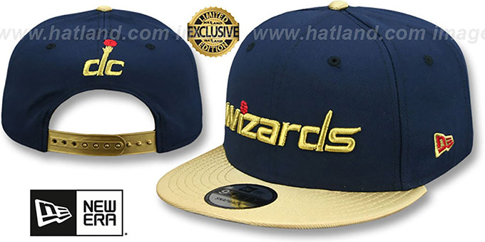 Wizards 'SWINGMAN SNAPBACK' Navy-Gold Hat by New Era : pictured without stickers that these products are shipped with