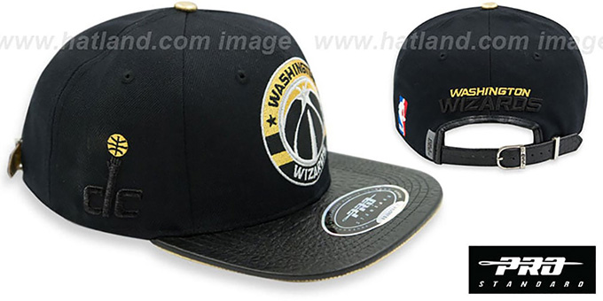 Wizards 'TEAM-CIRCLE STRAPBACK' Black Hat by Pro Standard : pictured without stickers that these products are shipped with