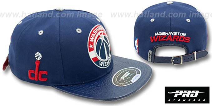 Wizards 'TEAM-CIRCLE STRAPBACK' Navy Hat by Pro Standard : pictured without stickers that these products are shipped with