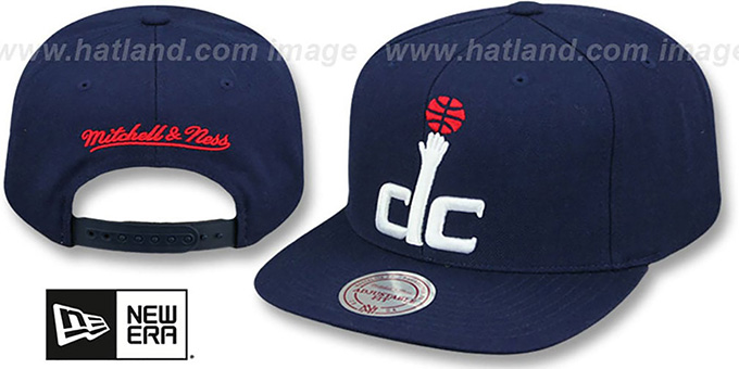 Wizards 'XL-LOGO SNAPBACK' Navy Hat by Mitchell and Ness : pictured without stickers that these products are shipped with