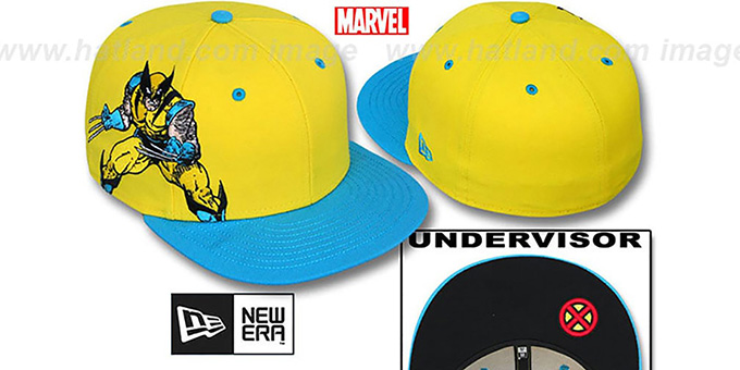 Wolverine 'BIG-SIDE' Yellow-Blue Fitted Hat by New Era : pictured without stickers that these products are shipped with