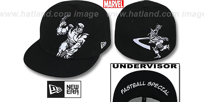 Wolverine 'FASTBALL SPECIAL' Black Fitted Hat by New Era : pictured without stickers that these products are shipped with