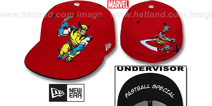 Wolverine 'FASTBALL SPECIAL' Red Fitted Hat by New Era : pictured without stickers that these products are shipped with