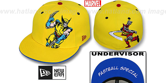 Wolverine 'FASTBALL SPECIAL' Yellow Fitted Hat by New Era : pictured without stickers that these products are shipped with
