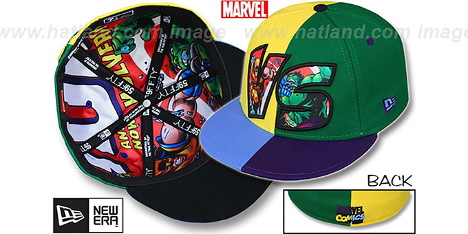 Wolverine 'VERSUS' Hulk Multi Fitted Hat by New Era : pictured without stickers that these products are shipped with