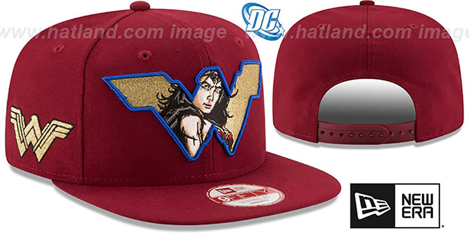 Wonder Woman 'RETROFLECT SNAPBACK' Burgundy Hat by New Era : pictured without stickers that these products are shipped with