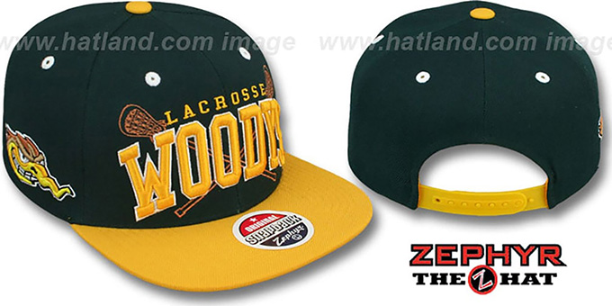 Woodys 'LACROSSE SUPER-ARCH SNAPBACK' Green-Gold Hat by Zephyr : pictured without stickers that these products are shipped with