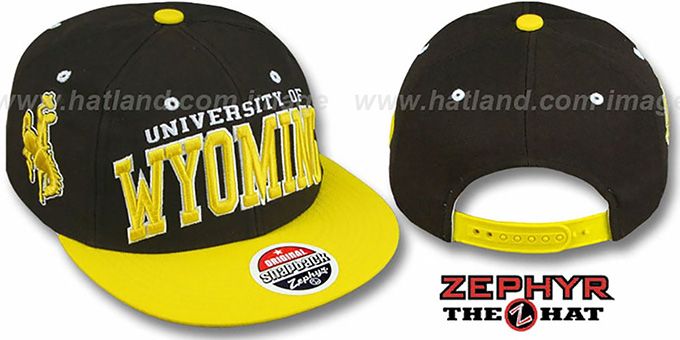Wyoming '2T SUPER-ARCH SNAPBACK' Brown-Gold Hat by Zephyr : pictured without stickers that these products are shipped with