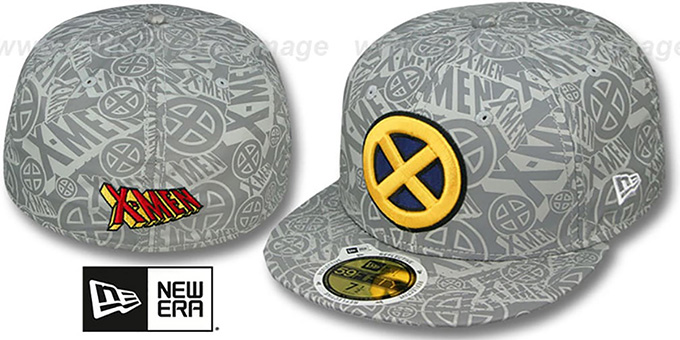 X-Men 'COMIC REFLECT' Fitted Hat by New Era : pictured without stickers that these products are shipped with