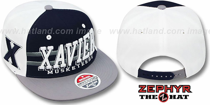 Xavier '2T SUPERSONIC SNAPBACK' Navy-Grey Hat by Zephyr : pictured without stickers that these products are shipped with
