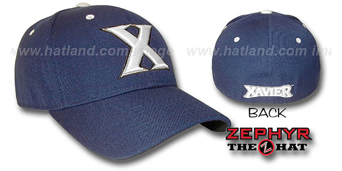 Xavier 'DH' Fitted Hat by Zephyr - navy : pictured without stickers that these products are shipped with