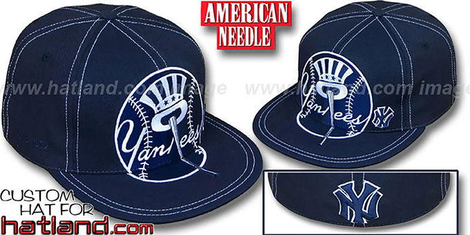Yankees 'GETTIN BIG' Navy Fitted Hat by American Needle : pictured without stickers that these products are shipped with