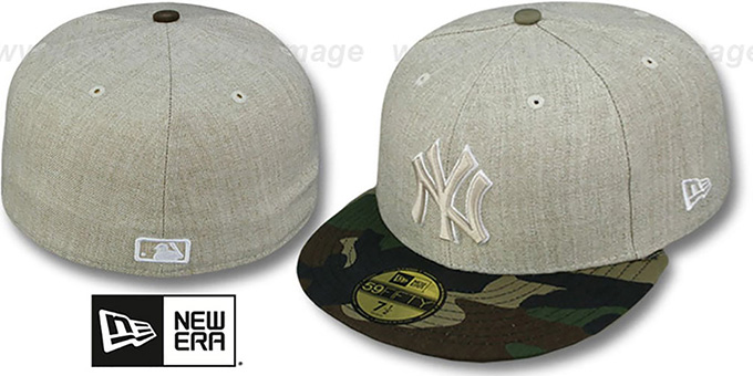 Yankees  '2T-HEATHER' Oatmeal-Army Fitted Hat by New Era : pictured without stickers that these products are shipped with