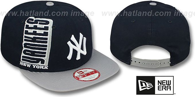 Yankees 'RALLYMARK SNAPBACK' Navy-Grey Hat by New Era : pictured without stickers that these products are shipped with