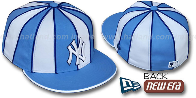 Yankees '12-PACK' Baby Blue-White Fitted Hat by New Era : pictured without stickers that these products are shipped with