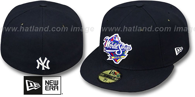 Yankees 1999 'CHAMPIONS PATCH' Navy Fitted Hat by New Era : pictured without stickers that these products are shipped with