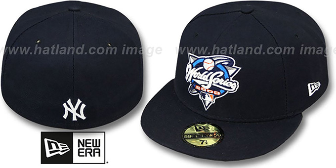 Yankees 2000 'CHAMPIONS PATCH' Navy Fitted Hat by New Era : pictured without stickers that these products are shipped with