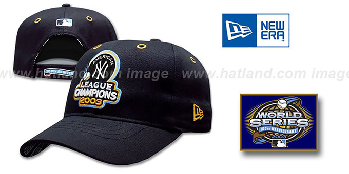 Yankees 2003 'AL CHAMPS' Hat by New Era : pictured without stickers that these products are shipped with