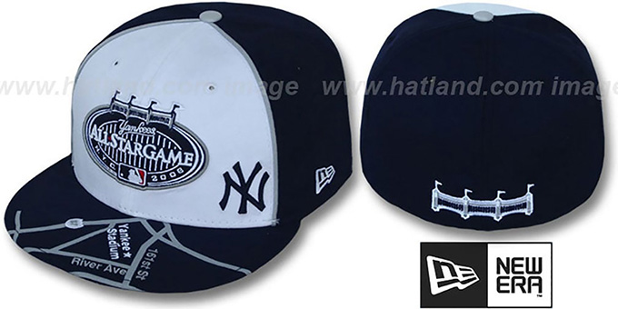 Yankees '2008 ALL STAR GPS' White-Navy Fitted Hat by New Era : pictured without stickers that these products are shipped with