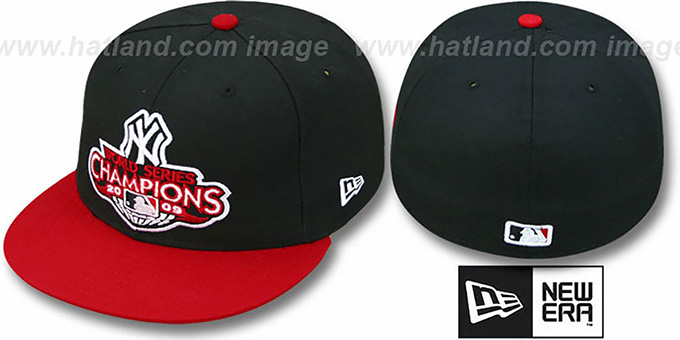 Yankees 2009 'CHAMPIONS CREST' Black-Red Hat by New Era : pictured without stickers that these products are shipped with