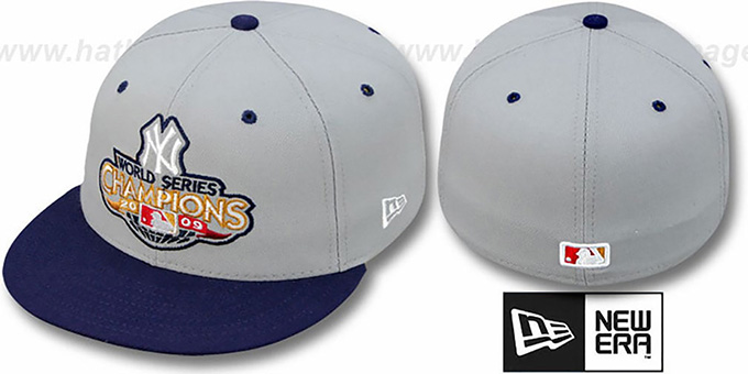 Yankees 2009 'CHAMPIONS CREST' Grey-Navy Hat by New Era : pictured without stickers that these products are shipped with
