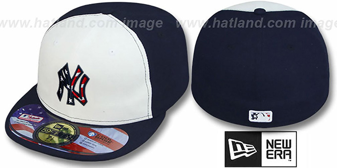 Yankees '2011 STARS N STRIPES' White-Navy Hat by New Era : pictured without stickers that these products are shipped with