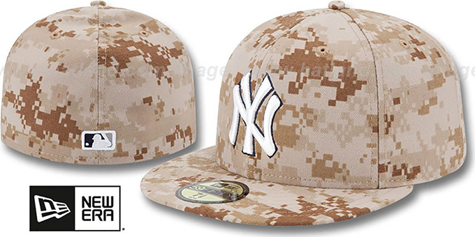 Yankees 2013 'STARS N STRIPES' Desert Camo Hat by New Era : pictured without stickers that these products are shipped with