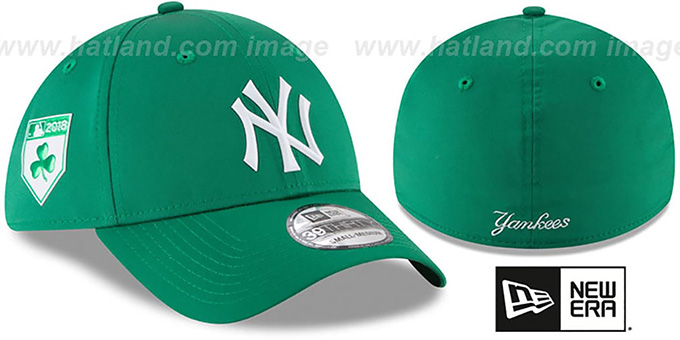 Yankees '2018 ST PATRICKS DAY FLEX' Hat by New Era : pictured without stickers that these products are shipped with
