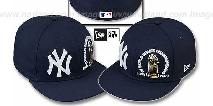 Yankees '27 CHAMPIONSHIPS TROPHY' Navy Fitted Hat by New Era : pictured without stickers that these products are shipped with
