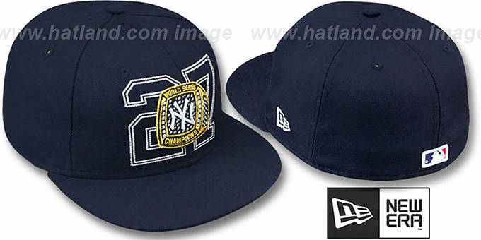 Yankees 27 'WS RINGS CHAMPIONSHIPS' Hat by New Era : pictured without stickers that these products are shipped with